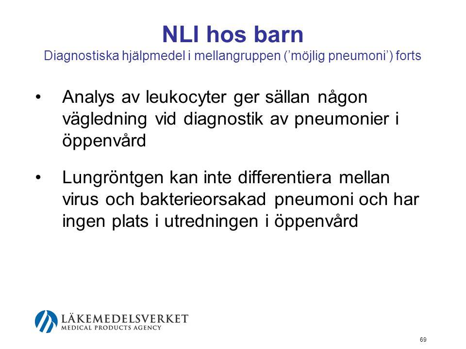 NLI hos barn Diagnostiska hjälpmedel i mellangruppen ('möjlig pneumoni') forts