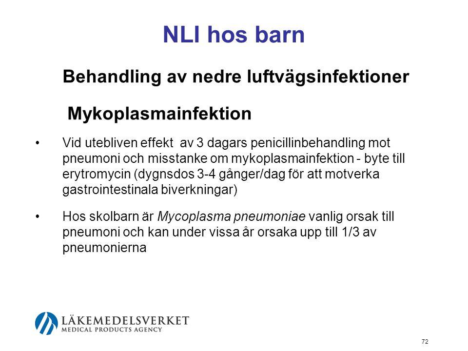 NLI hos barn Behandling av nedre luftvägsinfektioner