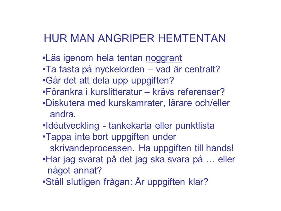 HUR MAN ANGRIPER HEMTENTAN