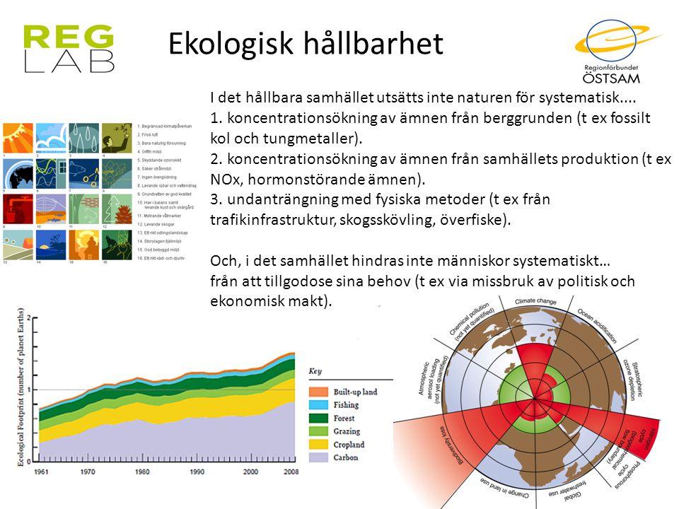 Ekologisk hållbarhet I det hållbara samhället utsätts inte naturen för systematisk....