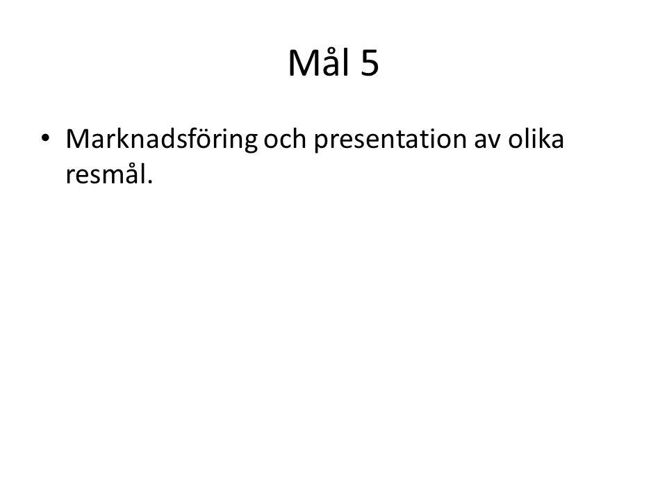 Mål 5 Marknadsföring och presentation av olika resmål.