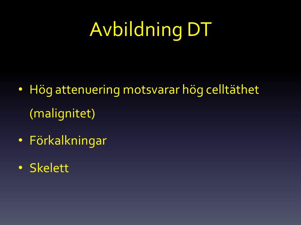 Avbildning DT Hög attenuering motsvarar hög celltäthet (malignitet)