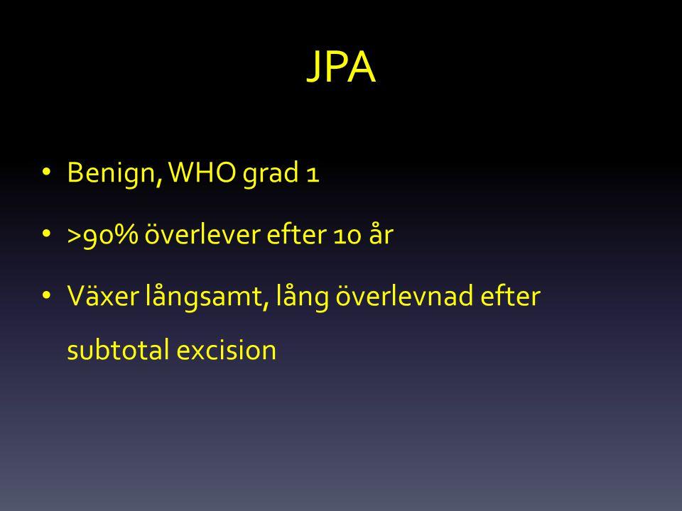 JPA Benign, WHO grad 1 >90% överlever efter 10 år