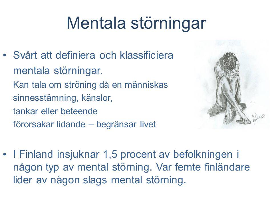 Mentala störningar Svårt att definiera och klassificiera