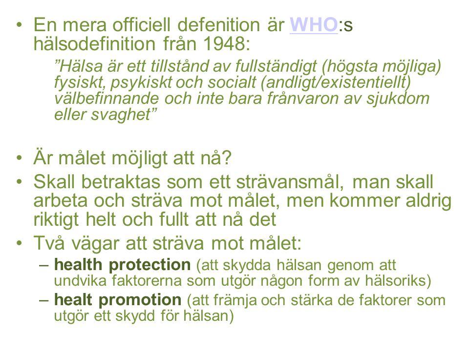 En mera officiell defenition är WHO:s hälsodefinition från 1948: