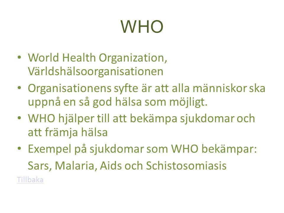 WHO World Health Organization, Världshälsoorganisationen