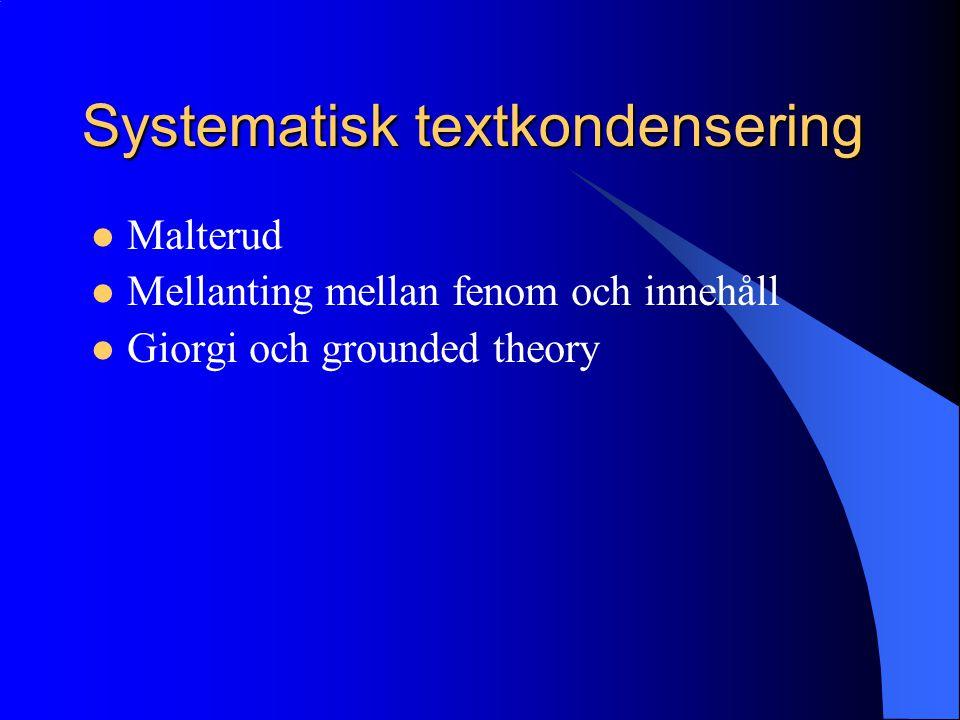 Systematisk textkondensering