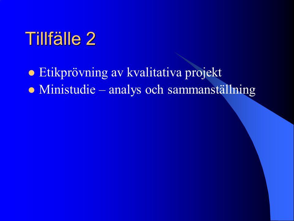 Tillfälle 2 Etikprövning av kvalitativa projekt