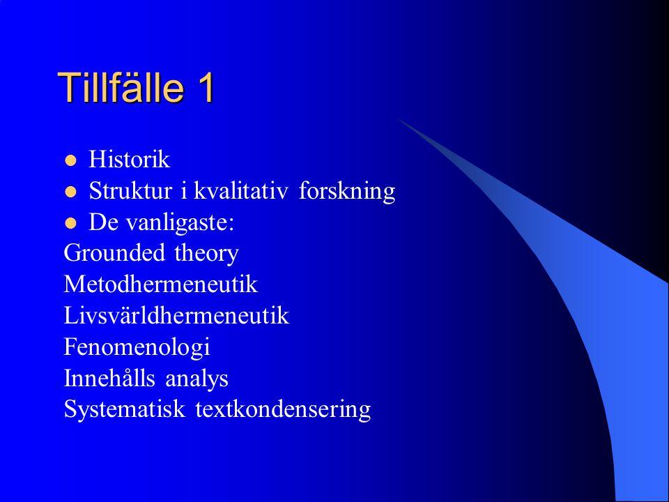 Tillfälle 1 Historik Struktur i kvalitativ forskning De vanligaste: