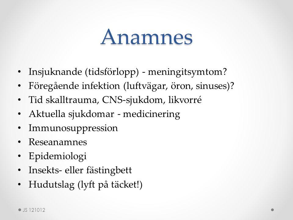 Anamnes Insjuknande (tidsförlopp) - meningitsymtom
