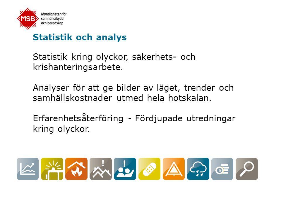 Statistik och analys Statistik kring olyckor, säkerhets- och krishanteringsarbete.