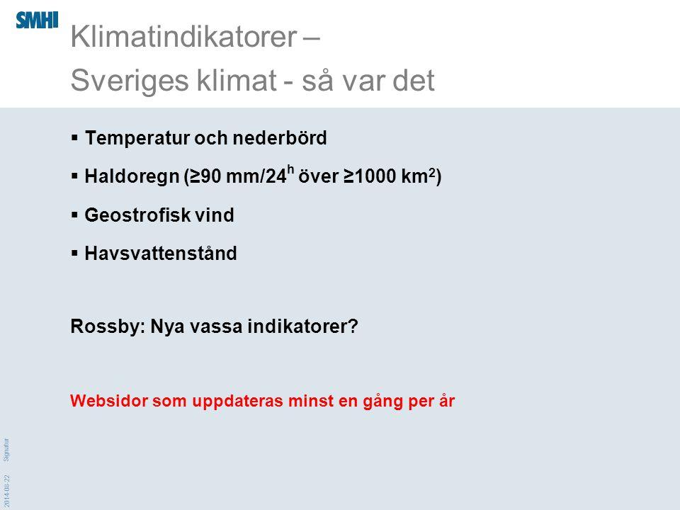 Klimatindikatorer – Sveriges klimat - så var det