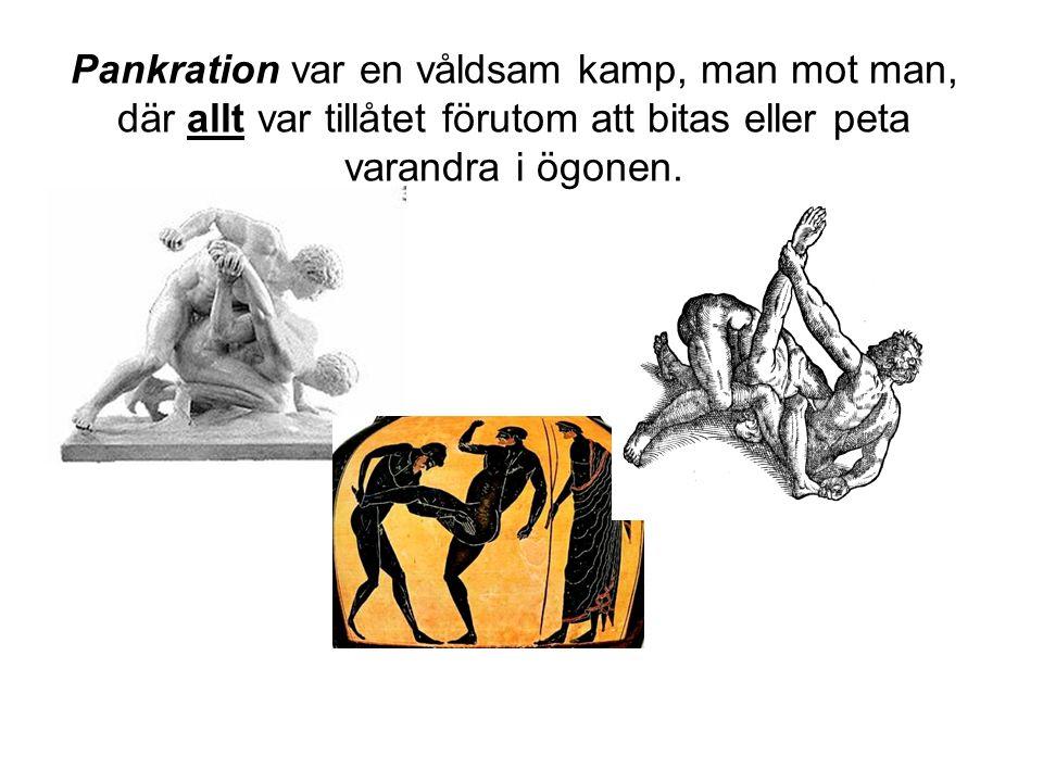 Pankration var en våldsam kamp, man mot man, där allt var tillåtet förutom att bitas eller peta varandra i ögonen.