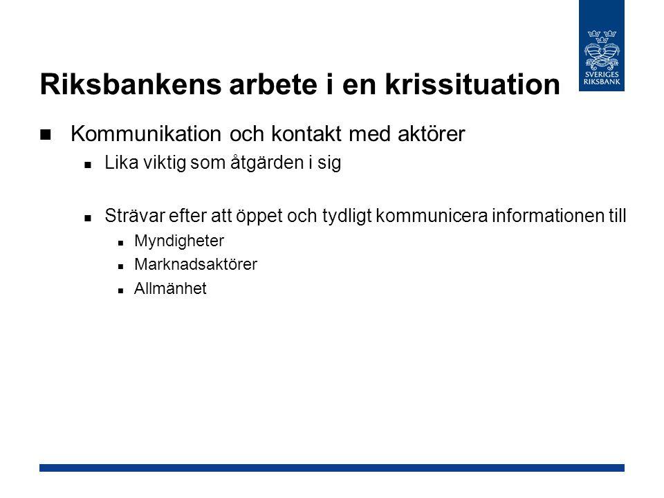 Riksbankens arbete i en krissituation