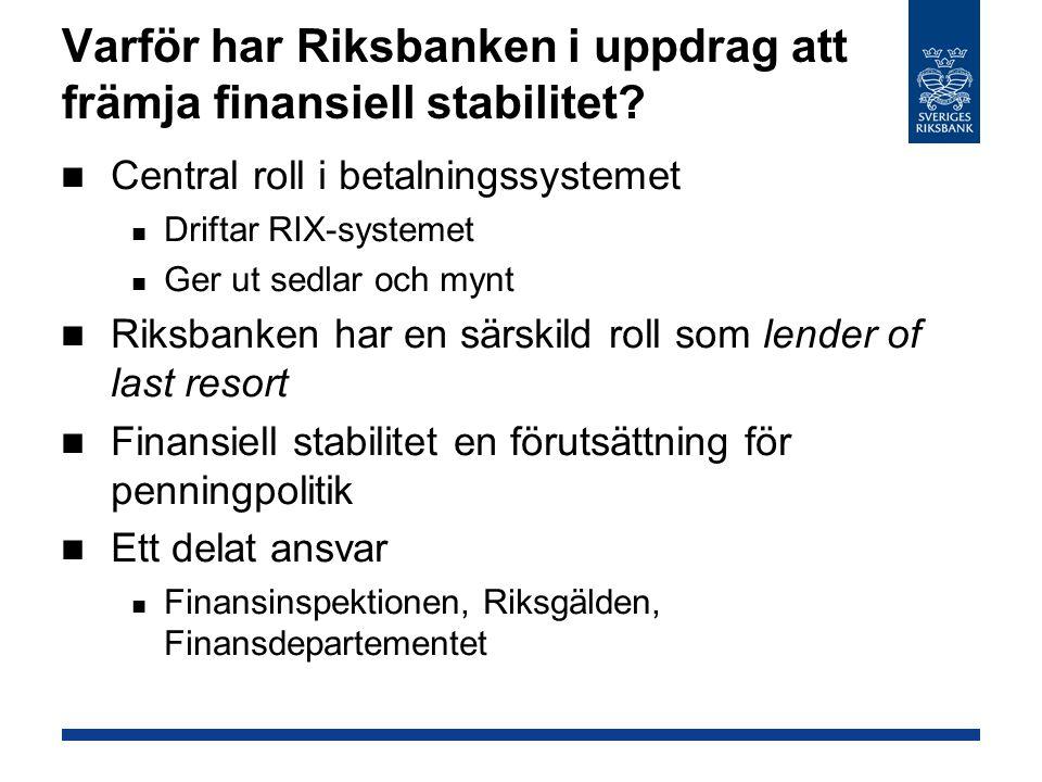 Varför har Riksbanken i uppdrag att främja finansiell stabilitet
