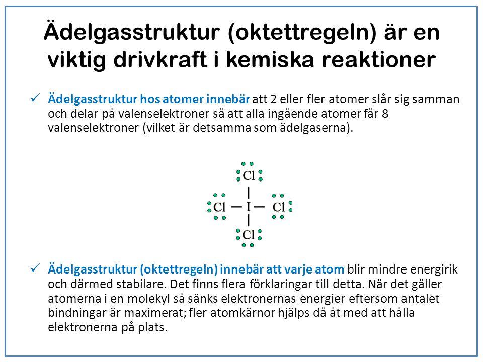 Ädelgasstruktur (oktettregeln) är en viktig drivkraft i kemiska reaktioner