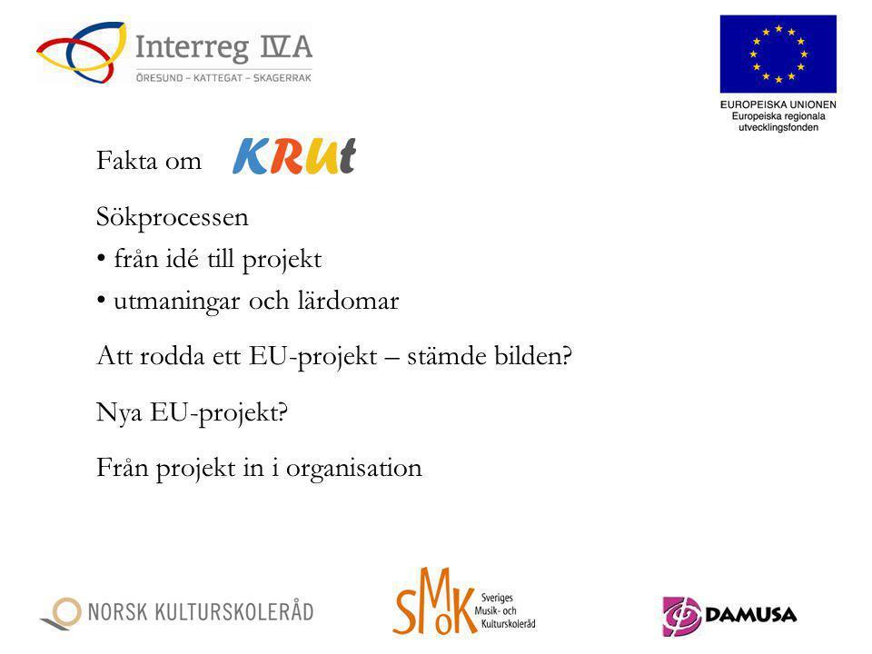 Fakta om Sökprocessen. från idé till projekt. utmaningar och lärdomar. Att rodda ett EU-projekt – stämde bilden