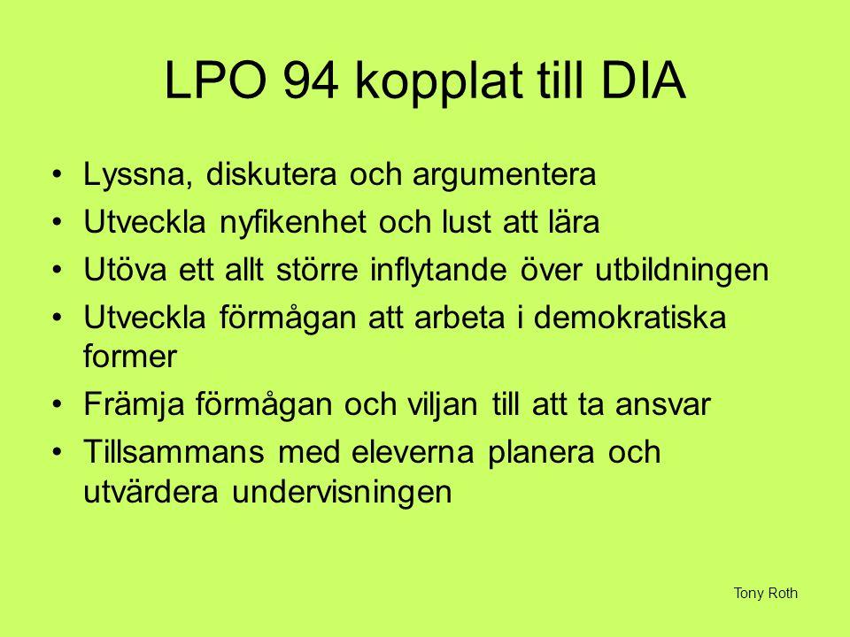 LPO 94 kopplat till DIA Lyssna, diskutera och argumentera