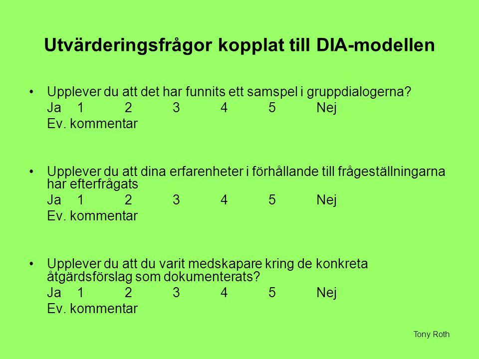 Utvärderingsfrågor kopplat till DIA-modellen