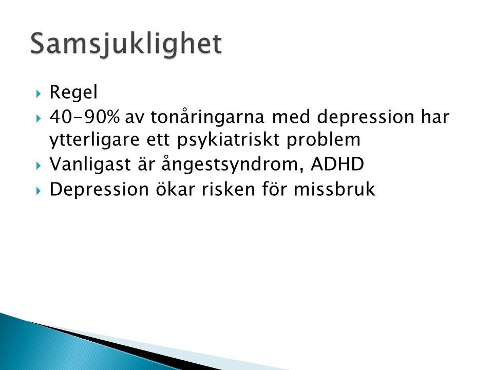 Samsjuklighet Regel. 40-90% av tonåringarna med depression har ytterligare ett psykiatriskt problem.