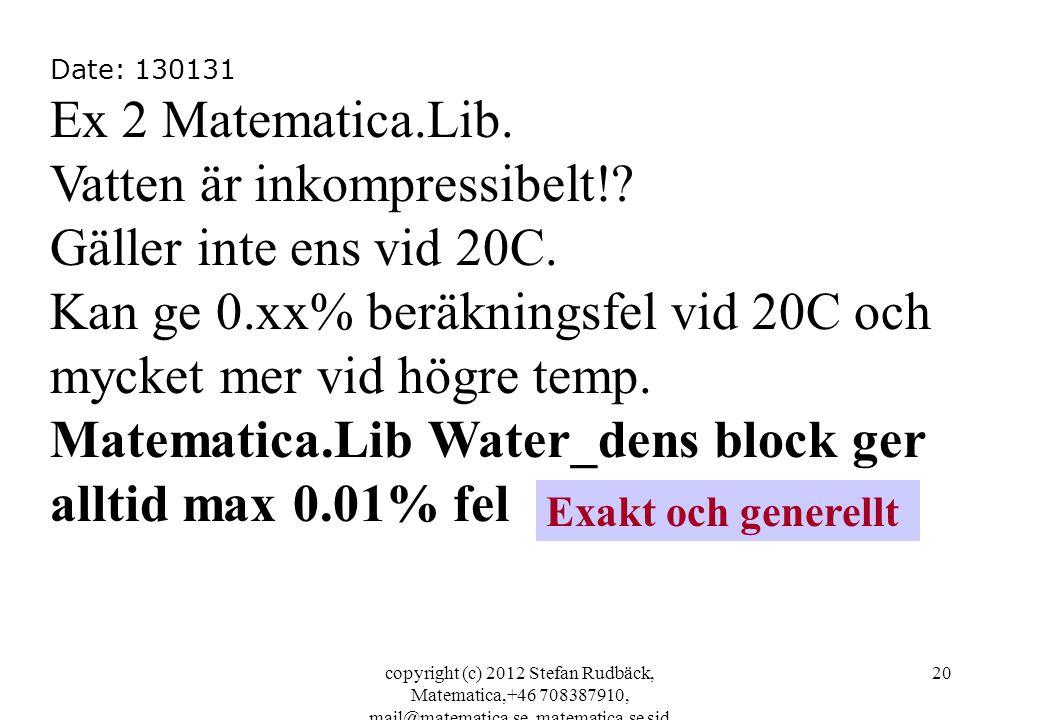 Vatten är inkompressibelt! Gäller inte ens vid 20C.