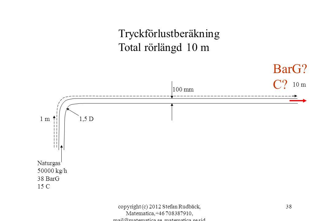 BarG C Tryckförlustberäkning Total rörlängd 10 m 10 m 100 mm 1 m