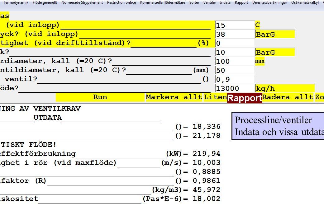 Processline/ventiler Indata och vissa utdata