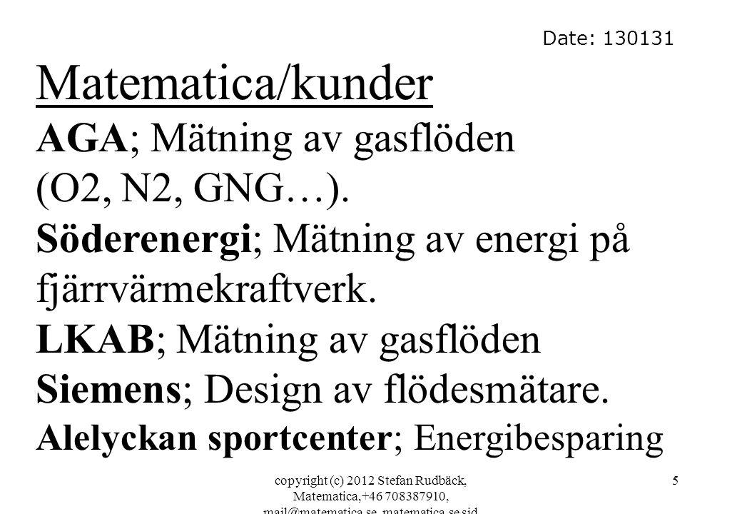 Matematica/kunder AGA; Mätning av gasflöden (O2, N2, GNG…).