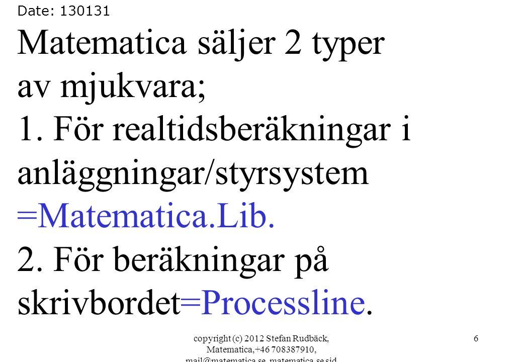 Matematica säljer 2 typer av mjukvara; 1. För realtidsberäkningar i