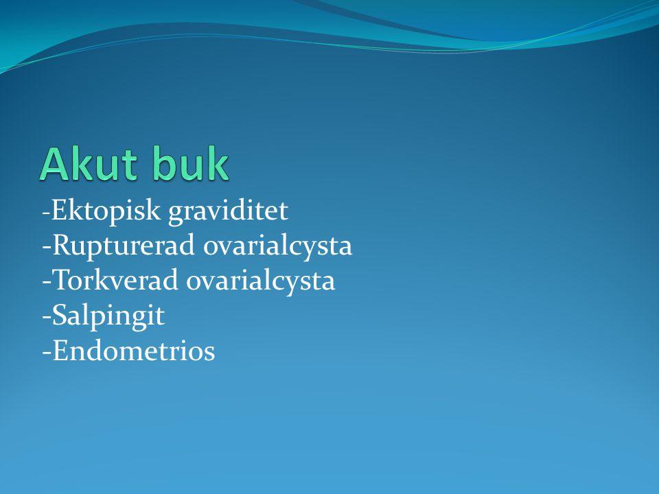 Akut buk -Rupturerad ovarialcysta -Torkverad ovarialcysta -Salpingit