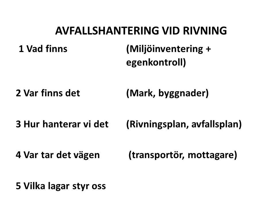 AVFALLSHANTERING VID RIVNING