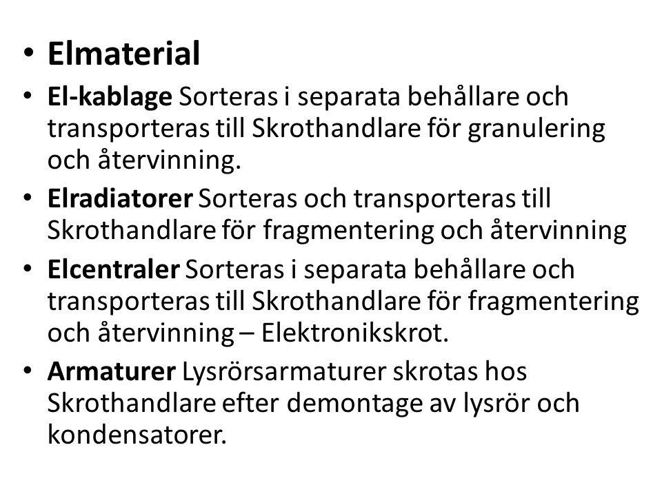 Elmaterial El-kablage Sorteras i separata behållare och transporteras till Skrothandlare för granulering och återvinning.