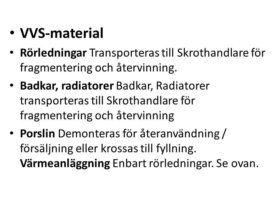 VVS-material Rörledningar Transporteras till Skrothandlare för fragmentering och återvinning.