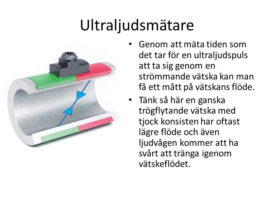 Ultraljudsmätare Genom att mäta tiden som det tar för en ultraljudspuls att ta sig genom en strömmande vätska kan man få ett mått på vätskans flöde.