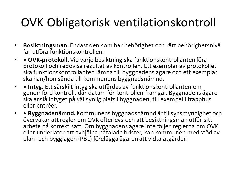 OVK Obligatorisk ventilationskontroll