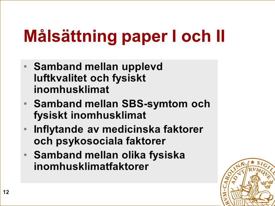 Målsättning paper I och II