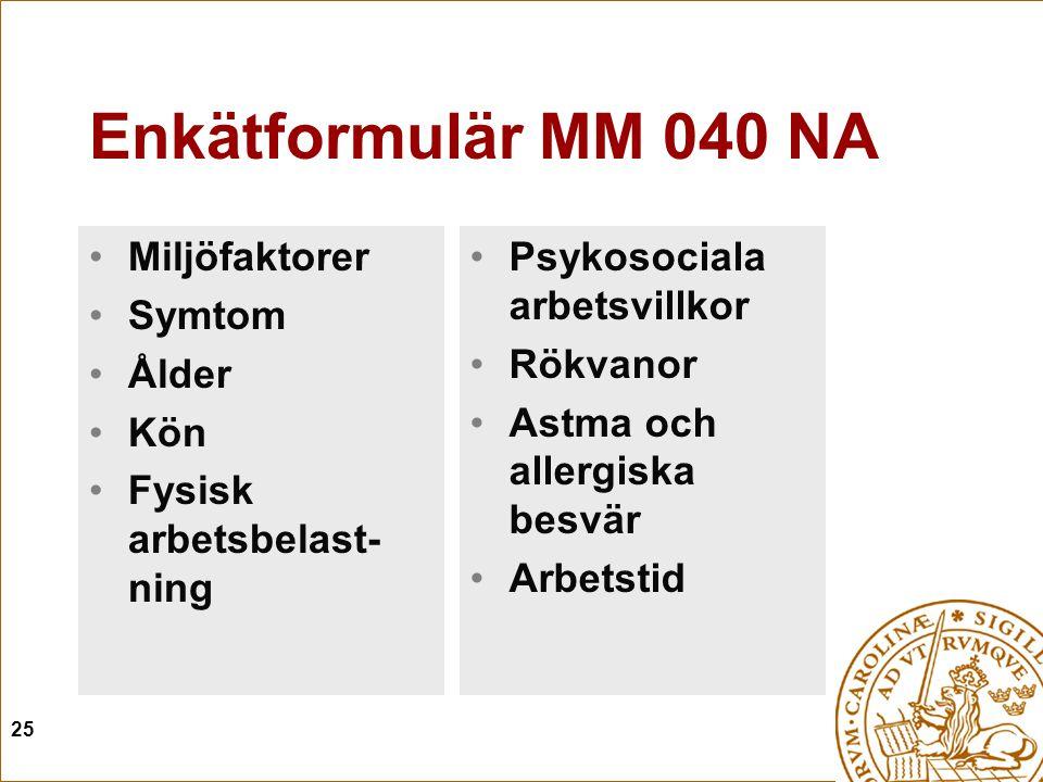 Enkätformulär MM 040 NA Miljöfaktorer Symtom Ålder Kön