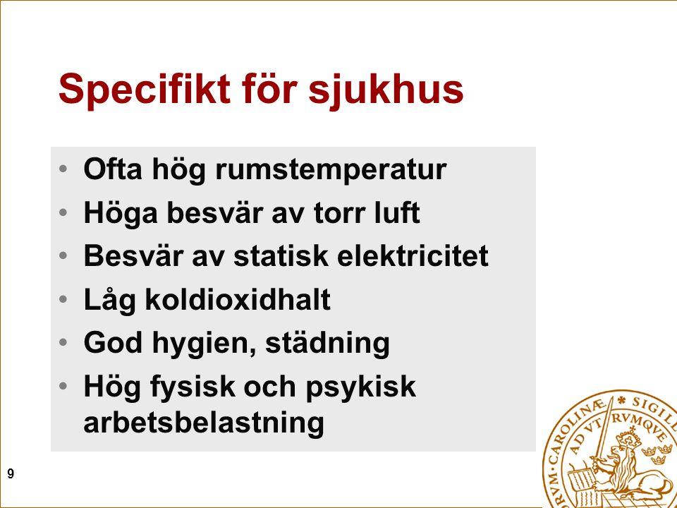 Specifikt för sjukhus Ofta hög rumstemperatur Höga besvär av torr luft