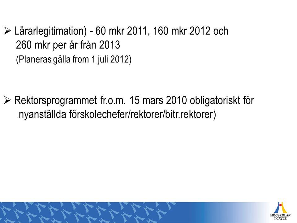 Lärarlegitimation) - 60 mkr 2011, 160 mkr 2012 och