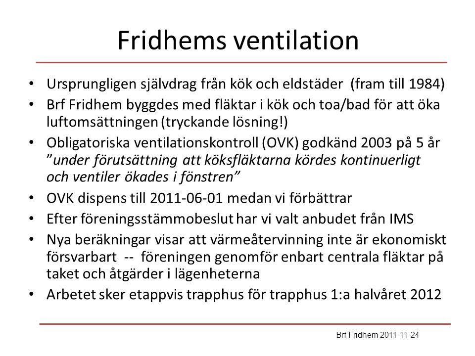 Fridhems ventilation Ursprungligen självdrag från kök och eldstäder (fram till 1984)