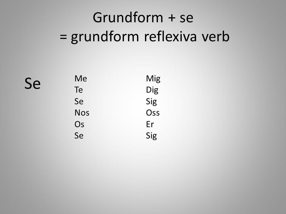 Grundform + se = grundform reflexiva verb