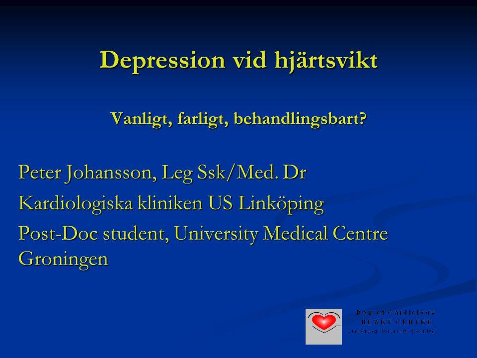 Depression vid hjärtsvikt Vanligt, farligt, behandlingsbart