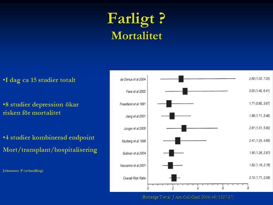 Farligt Mortalitet I dag ca 15 studier totalt