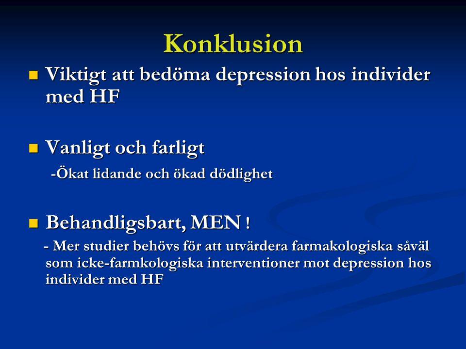 Konklusion Viktigt att bedöma depression hos individer med HF