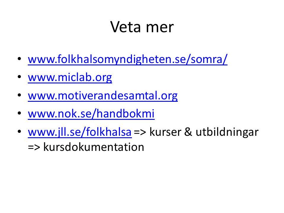 Veta mer www.folkhalsomyndigheten.se/somra/ www.miclab.org