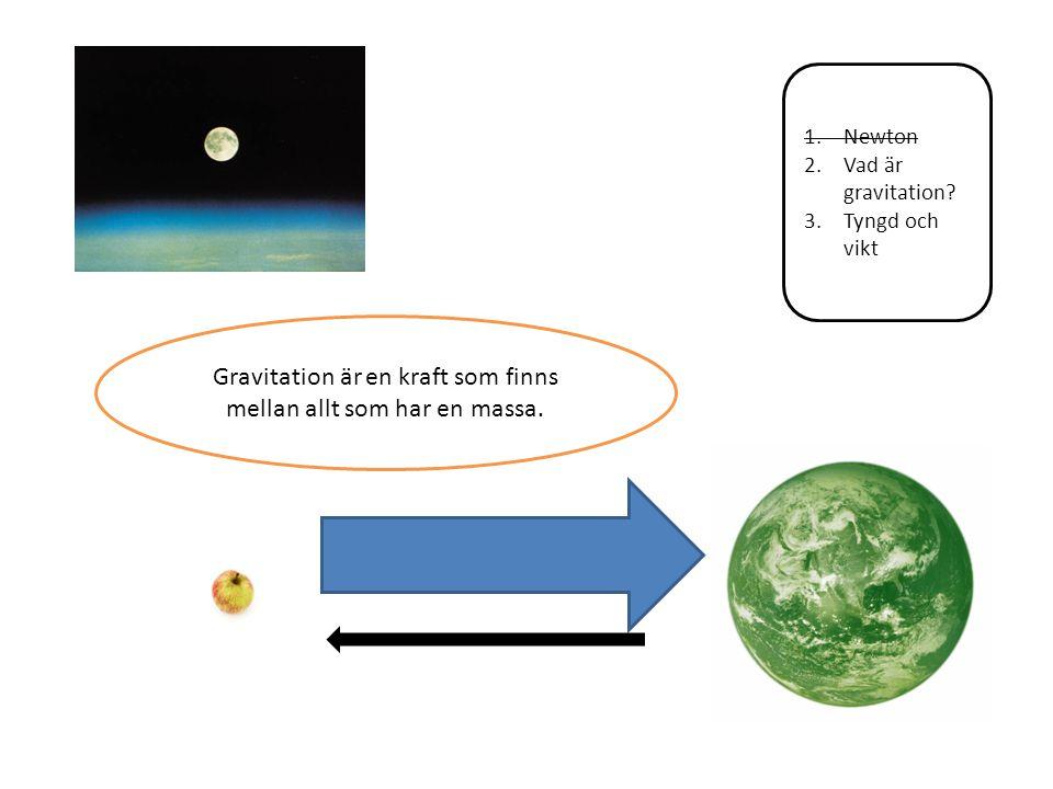 Gravitation är en kraft som finns mellan allt som har en massa.