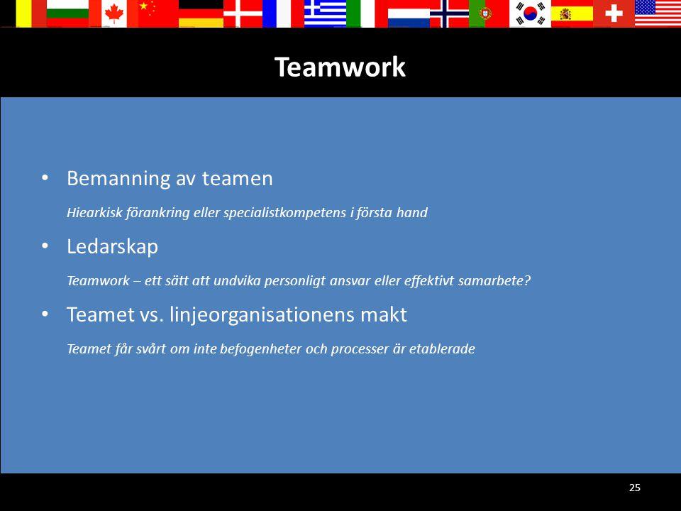 Teamwork Bemanning av teamen Ledarskap