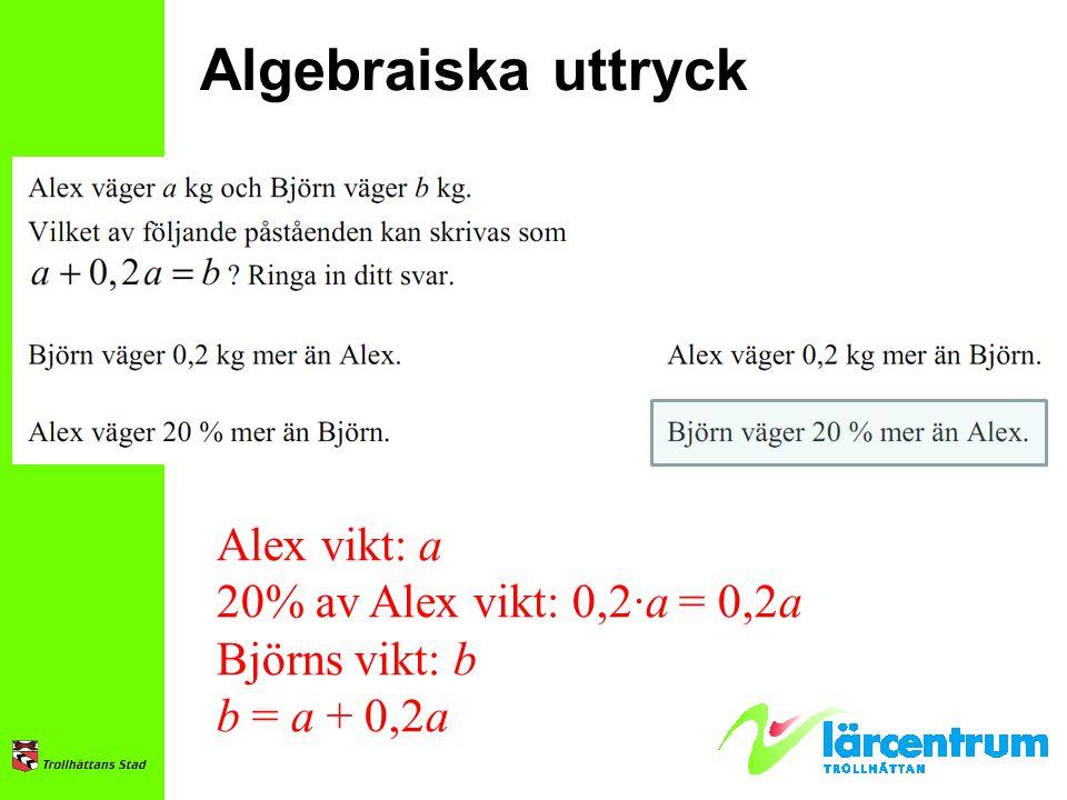 Algebraiska uttryck Alex vikt: a 20% av Alex vikt: 0,2∙a = 0,2a