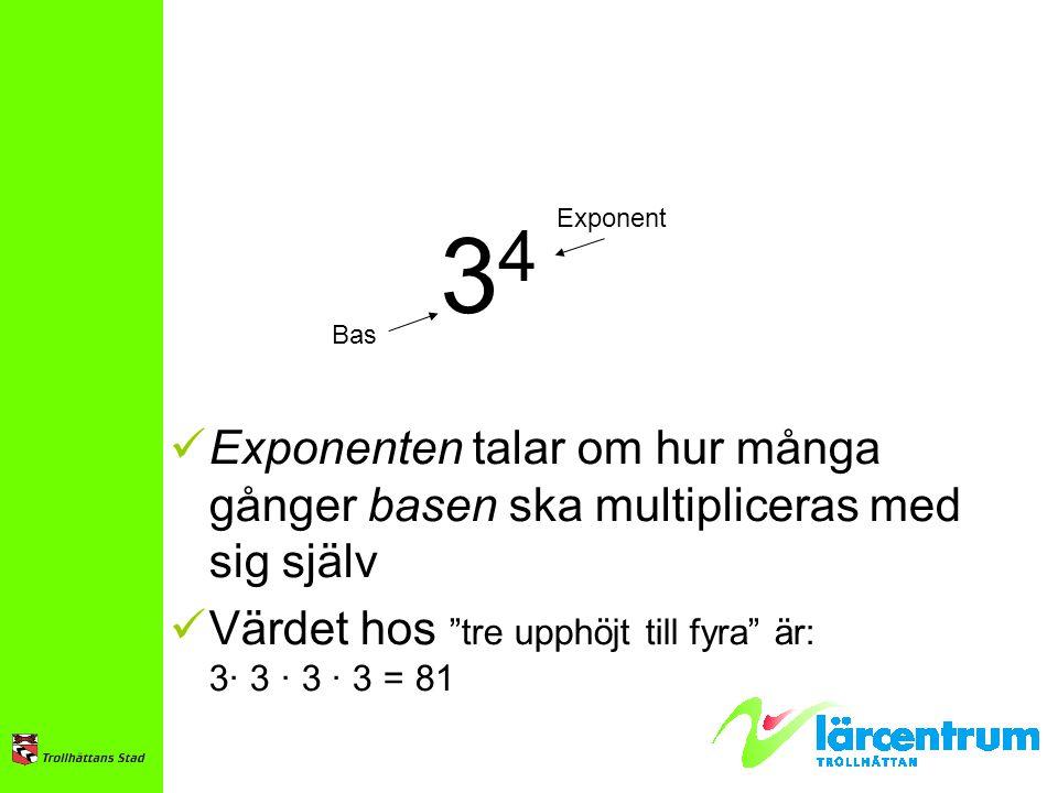 34 Bas. Exponent. Exponenten talar om hur många gånger basen ska multipliceras med sig själv. Värdet hos tre upphöjt till fyra är: