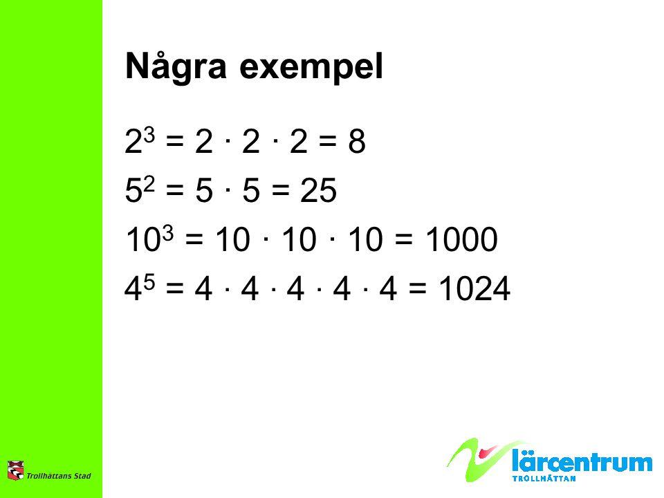 Några exempel 23 = 2 · 2 · 2 = 8. 52 = 5 · 5 = 25.